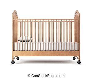 Wooden cot isolated on a white background. 3d rendering.