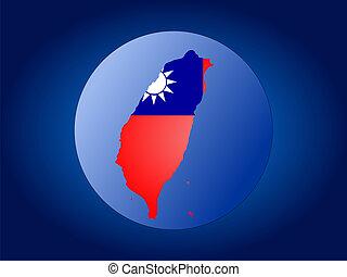 Taiwan globe - map and flag of Taiwan globe illustration