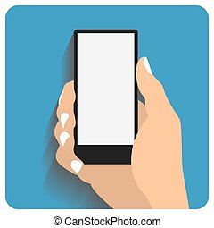 Hand holing smartphone with blank screen. Using mobile smart...