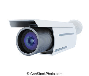 Security camera isolated on white background. 3d rendering.