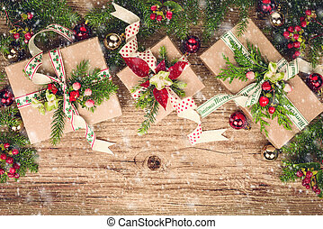 Christmas presents - Christmas background with gift boxes...