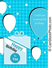 birthday poster with splitted present - Birthday poster with...