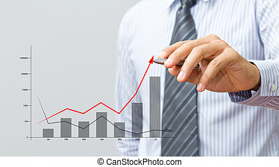 Business hand drawing a graph