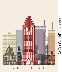 Montreal skyline poster in editable vector file