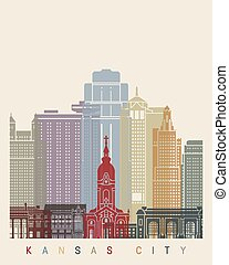 Kansas City skyline poster in editable vector file