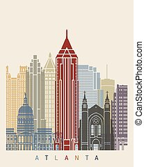 Atlanta skyline poster in editable vector file