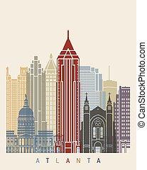 Atlanta skyline poster in editable vector file