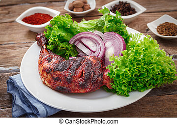 Indian chicken tandoori - Indian tandoori leg chicken with...