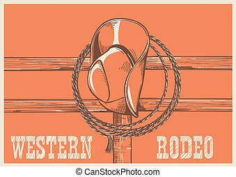 American West cowboy hat and lasso on wood fence.Vector...