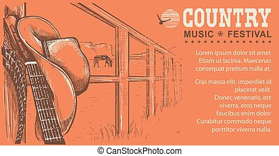 Western country music illustration with cowboy hat and music...