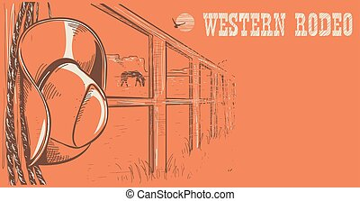 Western rodeo poster.American West cowboy hat and lasso on...