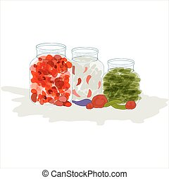 Vector preserved food - Vector illustration of three various...