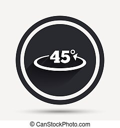 Angle 45 degrees sign icon. Geometry math symbol. Circle...