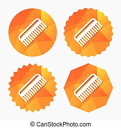 Comb hair sign icon Barber symbol Triangular low poly...