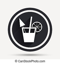 Cocktail sign. Alcoholic drink symbol. Circle flat button...