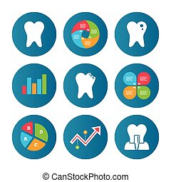 Dental care icons Caries tooth and implant - Business pie...