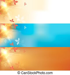Vector blurred autumn orange abstract banners set with bokeh effect, leaves