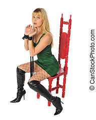 attractive woman with a red chair