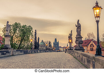 Prague, Czech Republic: Charles or Karluv Bridge in the...