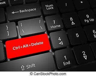 Button Ctrl Alt Delete - Task Manager concept. Laptop...