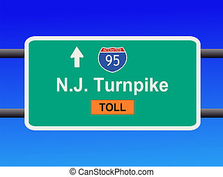 New Jersey Turnpike sign - New Jersey Turnpike Interstate 95...