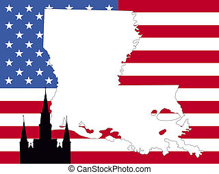 map of Louisiana on American flag with St Louis cathedral...