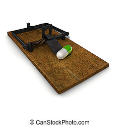 illustration on drug pill trap addiction theme