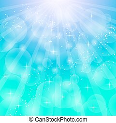 Blue bright background with rays