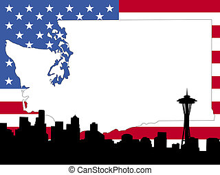 map of Washington on American flag with Seattle skyline