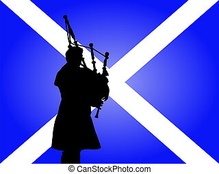 scottish man playing bagpipes - scottish man in kilt playing...