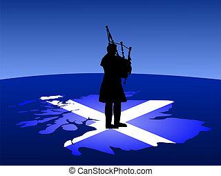 scottish man playing bagpipes - scottish man in kilt playing...