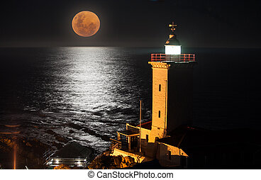 A blood moon rising over the ocean