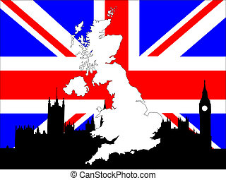 map of UK on flag