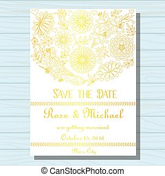 wedding invitation on wooden background - Vector wedding...