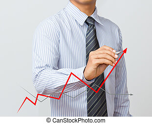man hand drawing a growth graph