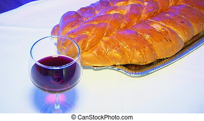 Shabbat with Challah bread and wine Challah wine Jewish...
