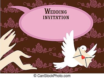Wedding pink invitation
