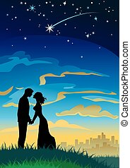 Your wishes come true - Couple silhouettes under starry sky