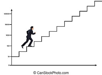 business man on stairs to success