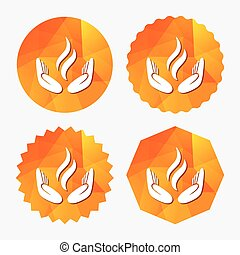 Energy hands sign icon. Power from hands symbol. Triangular...