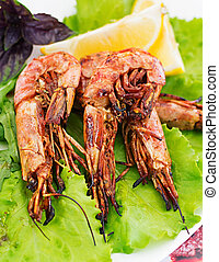Grilled Tiger shrimps in ginger-garlic marinade