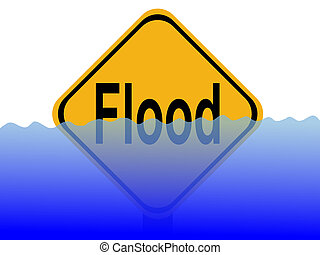 flood sign with water - American flood sign with rising...