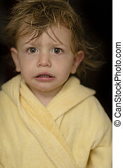 Baby Portrait - Cute baby looking funny after bath