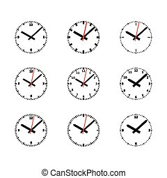 Clock Icon Set - Outline Isolated Vector Illustration. -...