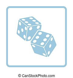 Craps dice icon. Blue frame design. Vector illustration.