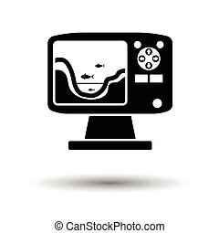 Icon of echo sounder . White background with shadow design....