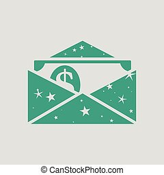 Birthday gift envelop icon with money . Gray background with...
