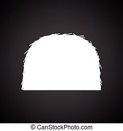 Hay stack icon. Black background with white. Vector...