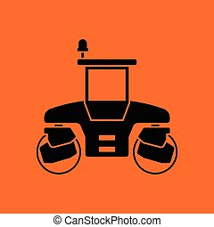 Icon of road roller. Orange background with black. Vector...