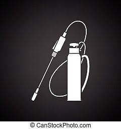 Garden sprayer icon Black background with white Vector...